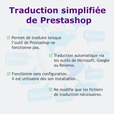 Traduction simplifiée des modules et du frontoffice de Prestashop