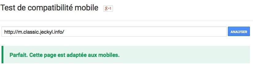Validé comme étant mobile friendly par Google